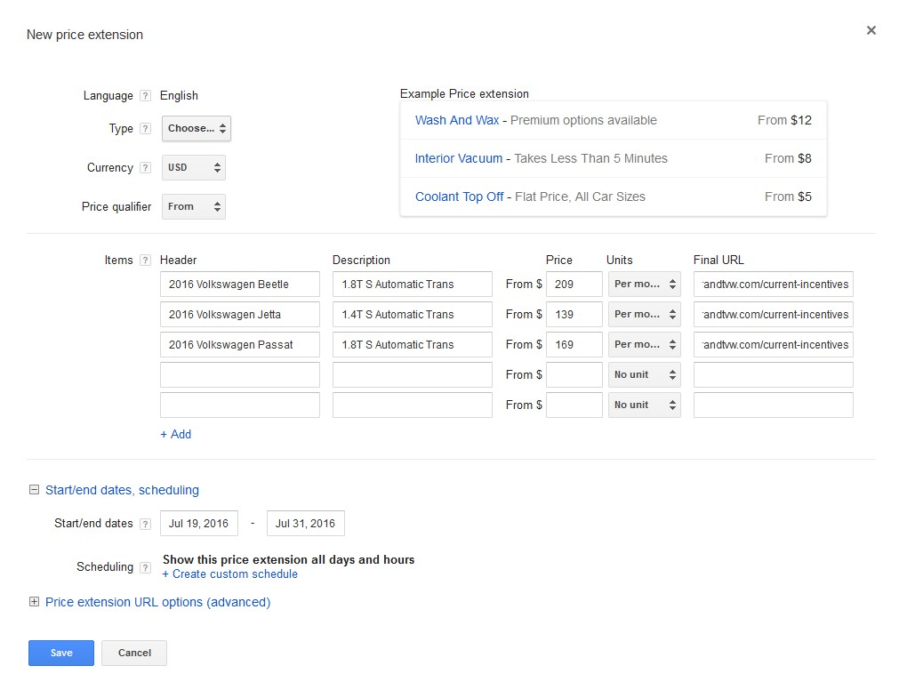 AdWords Price Extension Setup