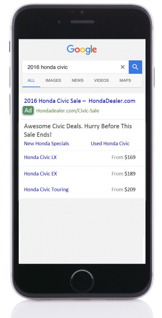 Automotive Price Extension AdWords